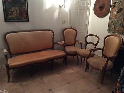 1860's ANTIQUE FRENCH COUNTRY PROVINCIAL SOFA plus THREE CHAIRS
