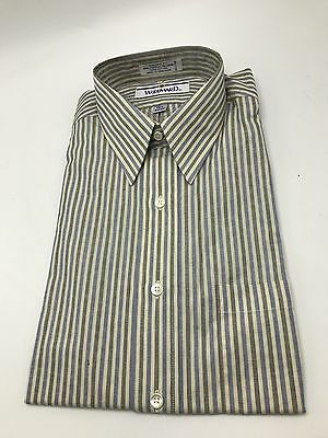 Woodward Blue Striped Shirt Long Sleeve 15 1/2 32/33 NOS Vintage 1987