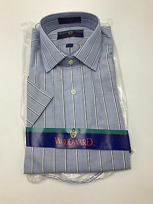 Woodward Blue Striped Shirt Short Sleeve Size 15 NOS Vintage 1987