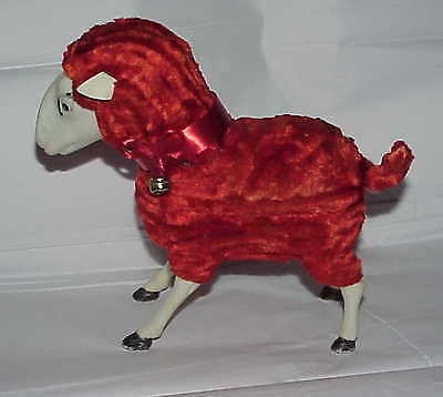 "vintage 7"" red Chenille Pipecleaner Easter Lamb Sheep candy container Germany?"