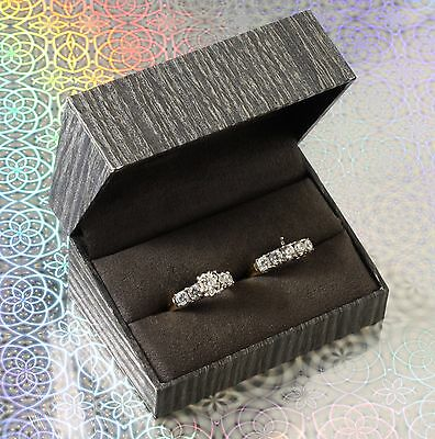 NWT Double Engagement Wedding Ring Band Presentation Gift Box Faux Wood Grain