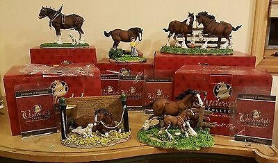 Budweiser CLYDPAK Clydesdale Figurines Set of 5 Same Serial Number 3357