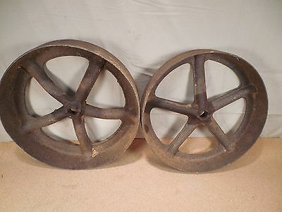 Two (2) Cast Iron Spoked Wheels for Antique Cole Horse Drawn Corn Seed Planter
