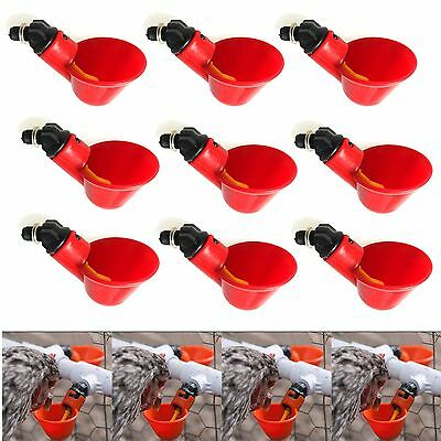 10 Psc Automatic Water Drinker Cups Chicken Coop Poultry Chook Bird Waterer New
