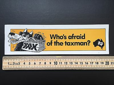 Rare Sticker Collection Sticker Number 4 Australian Tax Political