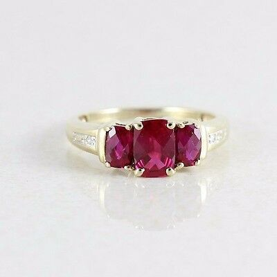 10k Yellow Gold Ruby and Diamond Ring Size 6 1/4