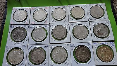 Mexico Silver Pesos Lot 15 Coins {1918/1919] Key Date