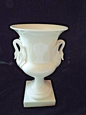 Lenox Vintage White Vase With Swan Handles Green Mark