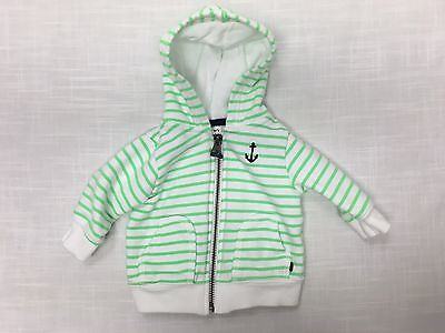 Carters Infant Boys Green Striped Hoodie Size 3 Months