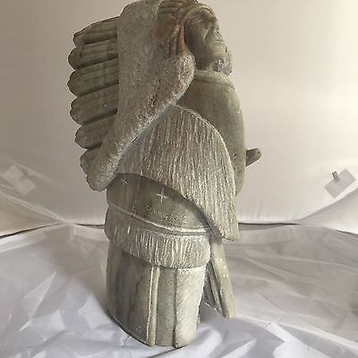 Exquisite Signed R.King Native American Chief holding Pipe Alabaster Sculpture