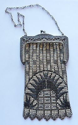 Whiting Davis Black White VERY Deco Enamel Mesh Bag Antique