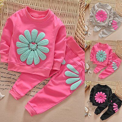 2PCS Toddler Kids Baby Girls Outfits Long Sleeve Dress Tops +Pants Clothes Set}