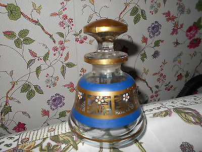Antique Victorian Floral Enameled Blown Glass Perfume Bottle~ Long Gold Stopper