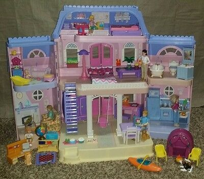 Fisher Price Loving Family Dream Grand Dollhouse Lot Furniture Figures Animals +