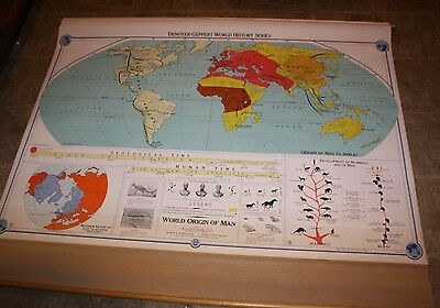 1958 Denoyer-Geppert  Map,World History Series,World Origin of Man ,Pull Down