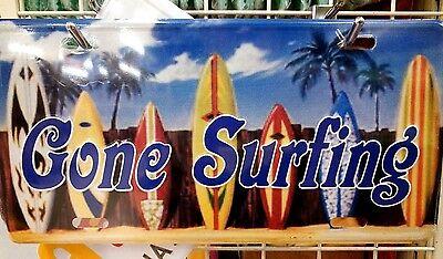 Hawaii Aloha State Gone Surfing License Plate