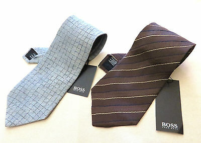 100% Authentic HUGO BOSS Gray & Brown Necktie Set Made In Italy With Paper Tag
