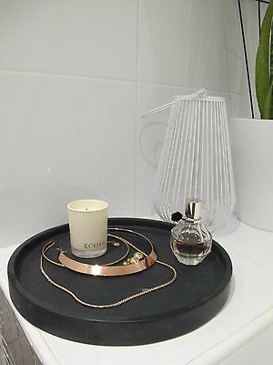 Black Marble Circle Tray Platter Plate Decor Jewellery Neroquina