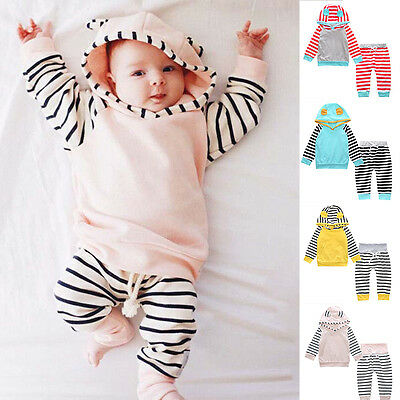 2pcs Newborn Infant Baby Boy Clothes Hooded T-shirt Tops + Pants Outfits Unisex