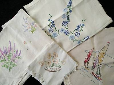 Bulk lot 4 Vintage Hand embroidered tablecloths - Usable or Crafts & extra