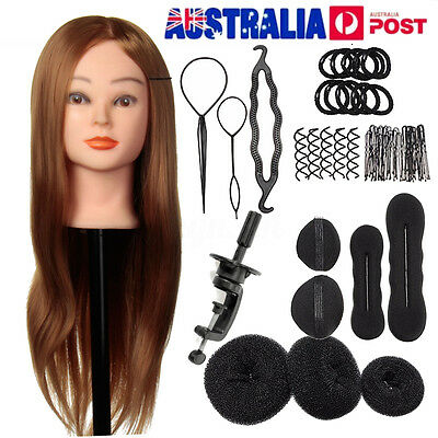 24'' Human Hair Training Practice Head Mannequin Hairdressing + Braid Tool Kit