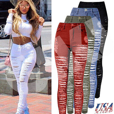 US Women's Skinny Ripped Denim Pants Stretch Slim Casual Jeans Pencil Trousers