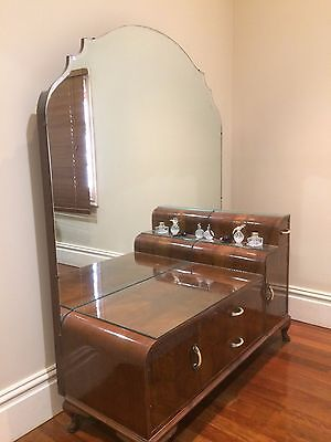 Large Antique Dressing table with framed mirror and original handles