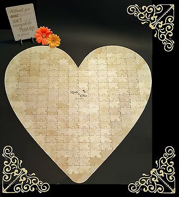 Large Heart-shape Wedding Jigsaw Puzzle personalised Guestbook, wooden, 190 pcs