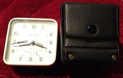 Saxony Travel Clock With Case Runs Great West Germany