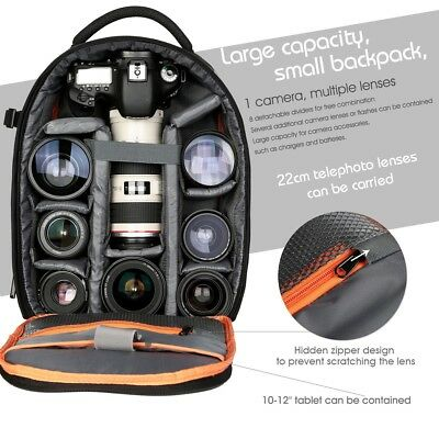 K&F Concept Waterproof DSLR SLR Photography Camera Backpack Bag for Canon Nikon