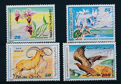 [26030] Tunisia 1980 Animals Bird Mountain Goat Flowers MNH