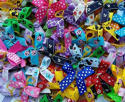 100 Mixed Design Grossgrain Dog Grooming Bows Free P&P