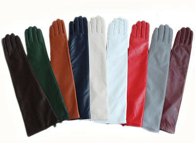 "47cm(18.5"")long classic plain style real leather evening gloves(10 colors)"