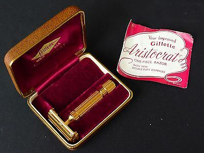 Gillette Aristocrat Gold Razor, Minty, Original Box, Instructions, Beautiful!