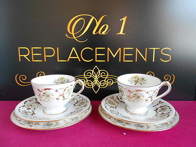 2 x Royal Crown Derby Grosvenor Trio's Cups Saucers Side Plates 1st Quality