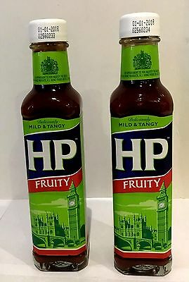 908751 2 x 255g BOTTLES OF HP FRUITY BROWN SAUCE DELICIOUSLY MILD AND TANGY