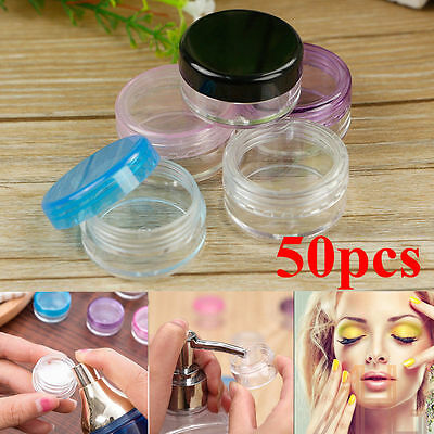 50X Small Clear Plastic Sample Container Mini Bottle Pot Jars Cosmetic Tools 3ml
