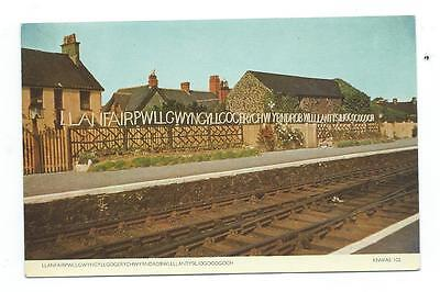 Llanfair PG Anglesey Wales Railway Station Cotman-Color Postcard c.1950's