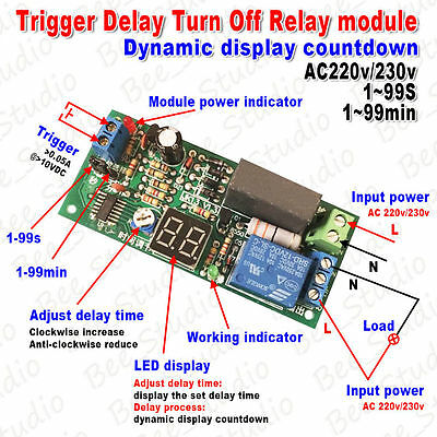 AC 220V 230V Digital LED Countdown Timer Delay Switch Turn OFF Time Relay Module