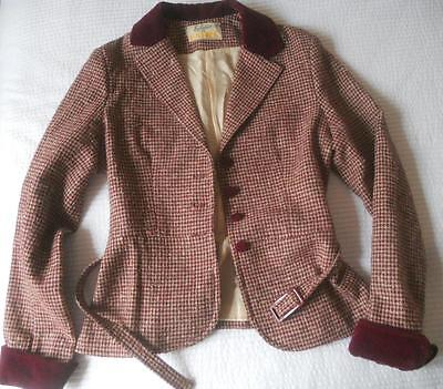 Vintage 1970's Katies Fitted Belted Jacket Plum Collar Houndstooth Wool Mix 10