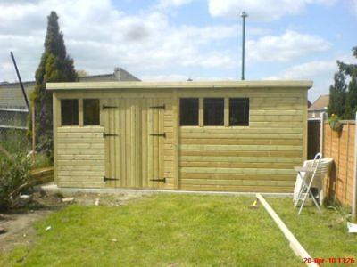 """16X8 Pent,tanalised Shed 19Mm T/g, 3X2 Cls Framing,1"""" Thick Flooring"""
