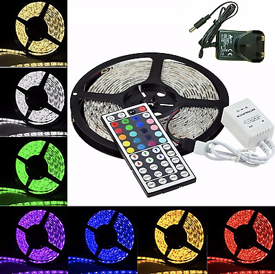 1M 2M 3M 4M 5M 5050 30LED/Meter RGB White LED Strip Remote IP65 Home Christmas