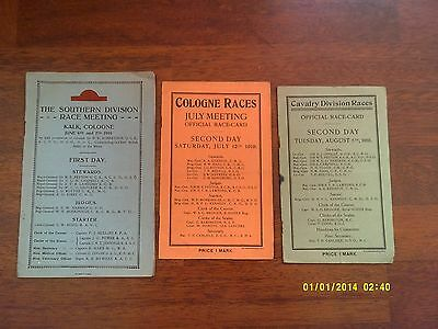 x3 - Nearly 100 Years Old Germany Horse Racing 1910s Racecard Program Collection
