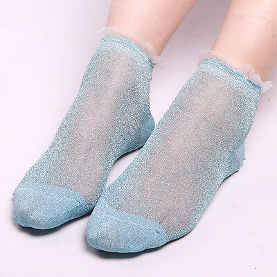 Summer Ruffle Glitter Mesh Ankle Socks Silver Gauze Fishnet Sock Blue Color