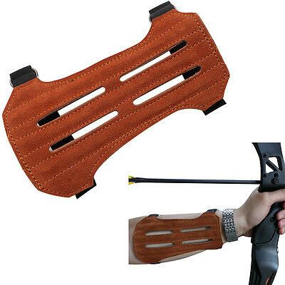 Brown Archery Hunting Arm Guard Faux Suede Protector Adjustable 2 Strap Safe
