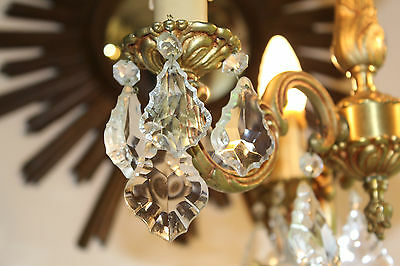 Vintage French 3 Arm Bronze Brass Crystal Rococo Style Chandelier Ceiling Light