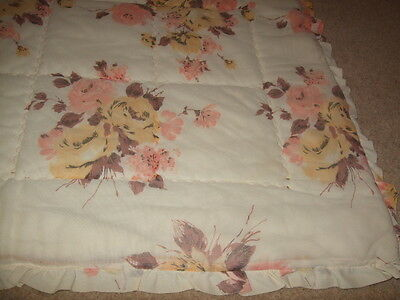 vintage retro 60s 70s mustard yellow floral single quilt shabby chic