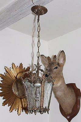 A Lovely Vintage French Bronze Brass Hall Porch Lantern Chandelier Ceiling Light