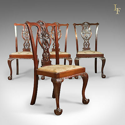 Set of 4 Antique Dining Chairs, Victorian Chippendale Revival, Armchair c.1890