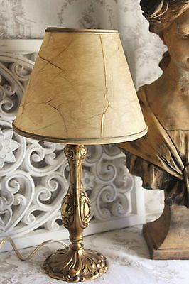 A Lovely Vintage French Bronze Side Table Lamp and Shade